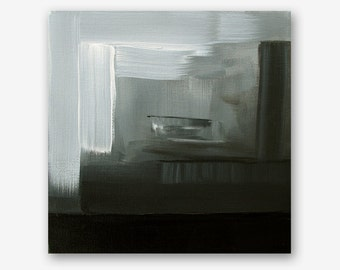 "8x8"" bedroom black & white small mini acrylic modern abstract original painting by Carey Pavlik"