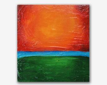 "6x6"" Sunset Orange #2 turquoise acrylic modern abstract original painting by Carey Pavlik"