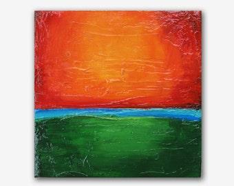 "6x6"" Sunset Orange #3 green turquoise acrylic modern abstract original painting by Carey Pavlik"