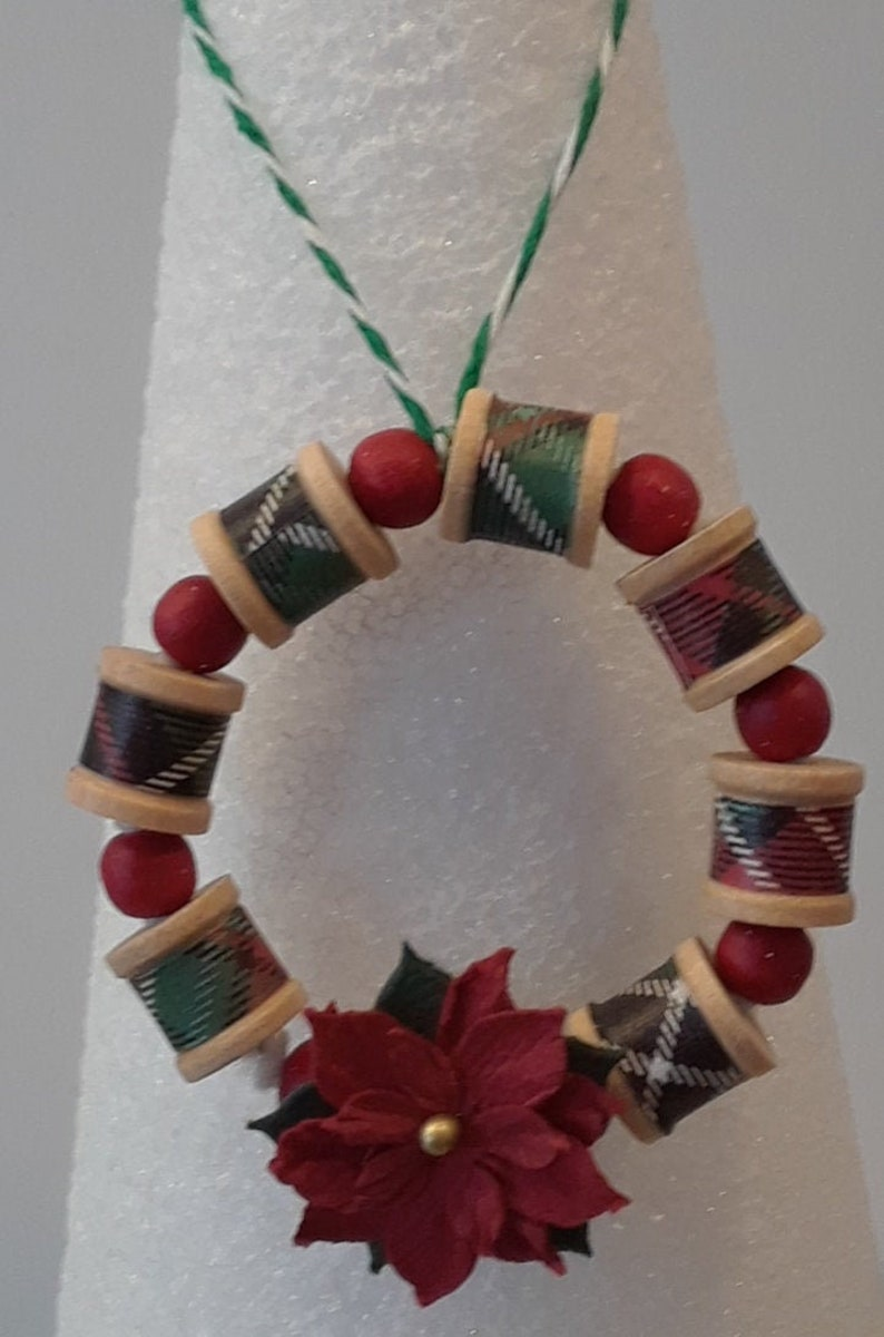 Wooden Spool Christmas Wreath Ornament/_Ready to Ship