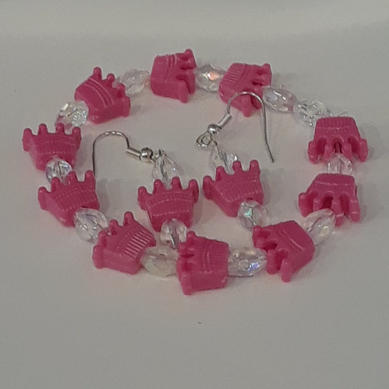 PRINCESS/_Little Girls Bracelet and Earrings/_Purple Crown/_Sequin Bead/_Ready to Ship
