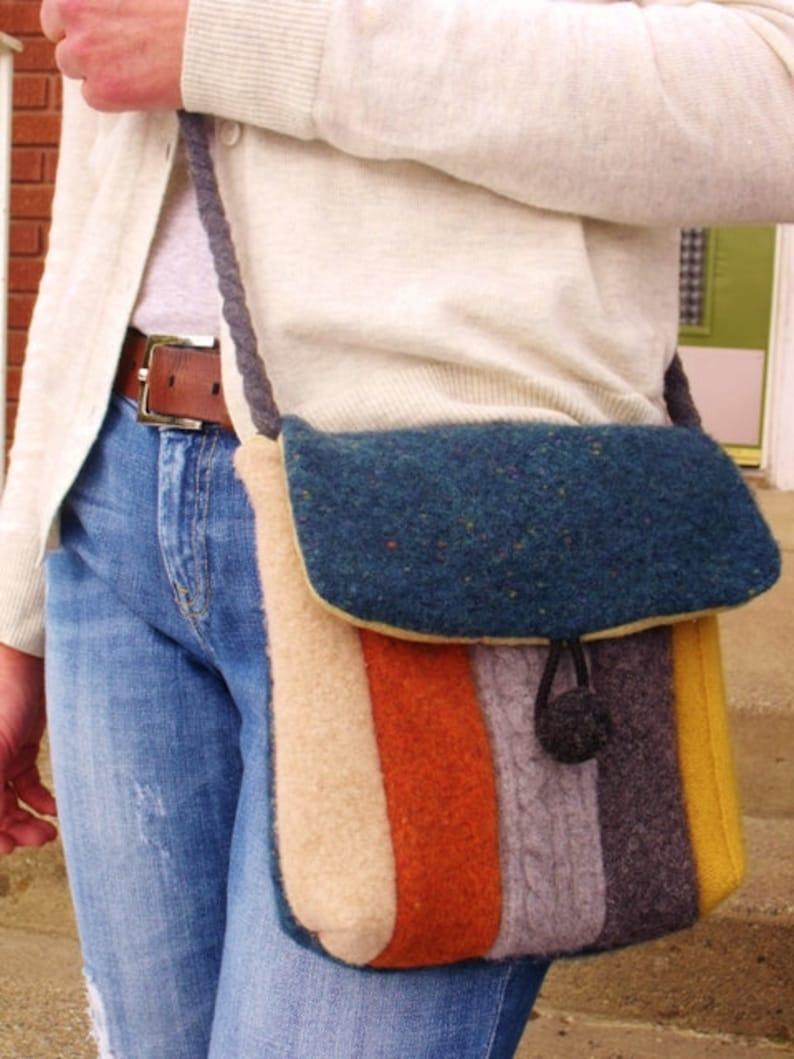 Recycled Wool Sweater Hip Messenger Bag-cross body strap  pdf image 0