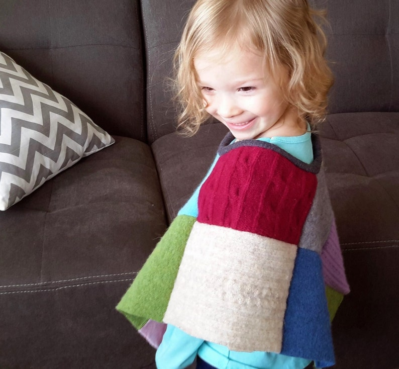 Child Patchwork Poncho  PDF Sewing Pattern  Sizes 6 months image 0