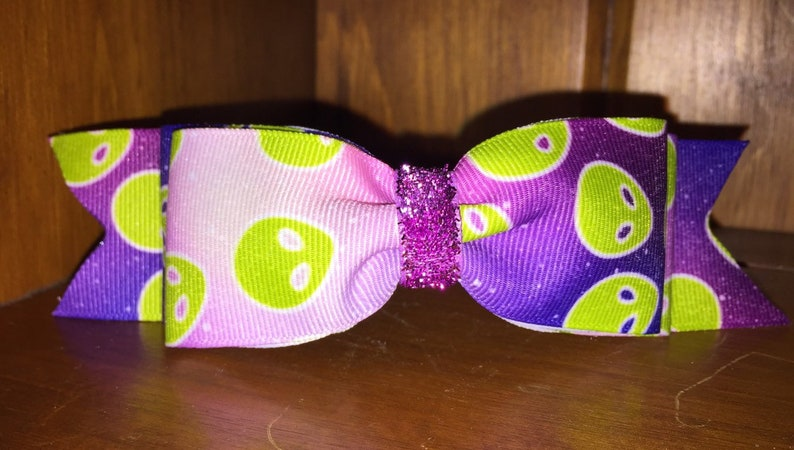 ALIEN Area 51 Headband with Attached Bow purple green martian image 0