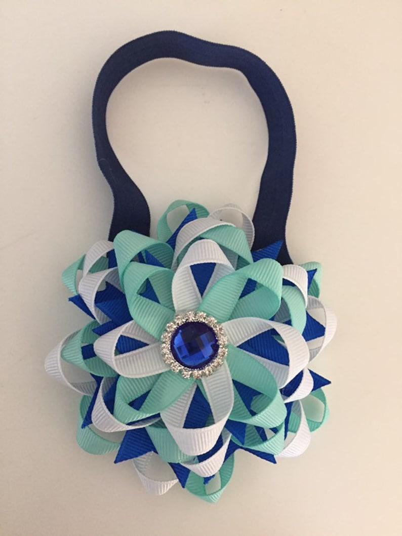 Blue & White Large Layered Flower Bow on Soft blue Headband image 0