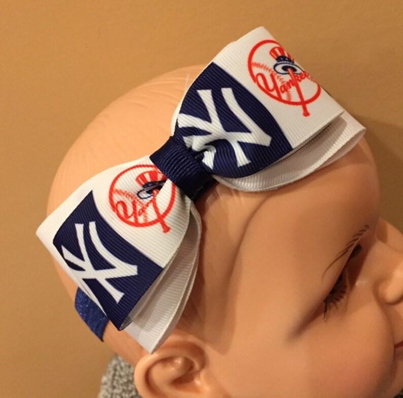 NY Yankee Baby Soft Headband with Logo Ribbon Bow. Double bow image 0