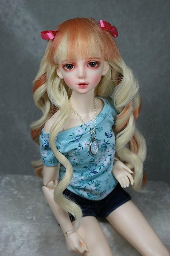 """7-8/"""" Blonde 1//4  MSD Super Dollfie BJD Doll Long Crimp Wig"""