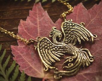 Phoenix Necklace - Gold Bronze Phoenix Rising Pendant - Firebird Necklace - Phoenix Bird Jewelry Gift - by Woodland Belle