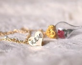 Gold Red Rose Necklace - Personalized Heart Charm Option - Glass Terrarium Pendant - Beauty and the Beast - Gift for Wife, Girlfriend