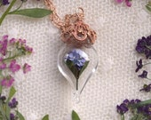 Rose Gold Purple Hydrangea Necklace - Glass Flower Terrarium - Pink Gold - Mother, Grandmother Necklace - by Woodland Belle