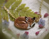 Enameled Sleeping Fox Necklace - Bronze Fox Pendant - 14 kt. Gold-fill Chain - Mori Forest Girl Necklace - by Woodland Belle
