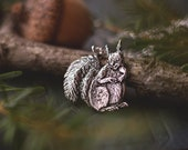Red Squirrel Necklace - Sterling Silver Tufted Eared Squirrel Pendant - Reclaimed Silver Eco-friendly - Mori Girl - by Woodland Belle