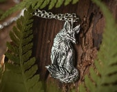 Sitting Fox Necklace - Sterling Silver Fox Pendant - Reclaimed Silver Eco-friendly - Mori Forest Girl Necklace - by Woodland Belle