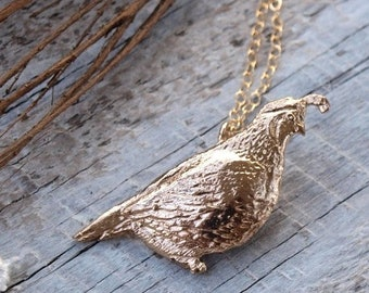 Quail Necklace - Gold Bronze California Quail Bird Pendant - Small Dainty Bird Charm Necklace - Bird Lover Gift for Her - by Woodland Belle