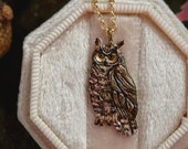 Enameled Owl Necklace - Bronze Great Horned Owl Pendant - 14 kt. Gold-fill Chain - Mori Forest Girl Necklace - by Woodland Belle