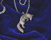 Leaping Fox Necklace - Sterling Silver Jumping Fox Pendant - Reclaimed Silver Eco Friendly - Mori Forest Girl Necklace - by Woodland Belle
