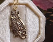 Owl Necklace - Bronze Great Horned Owl Pendant - 14 kt. Gold-fill Chain - Mori Forest Girl Necklace - by Woodland Belle