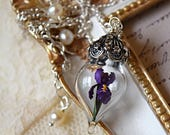 Purple Iris Flower Necklace - Glass Terrarium Pendant - Personalized Option - Memorial Gift - Silver, Gold, or Rose Gold - by Woodland Belle