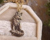 Sitting Fox Necklace - Bronze Fox Pendant - 14 kt. Gold-fill Chain - Mori Forest Girl Necklace - by Woodland Belle