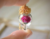 Pink Peony Necklace - Glass Flower Terrarium - Peony Pendant in Gold, Silver, or Rose Gold - Anniversary Necklace - By Woodland Belle