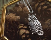 Owl Necklace - Sterling Silver Great Horned Owl Pendant - Reclaimed Silver Eco-friendly - Mori Forest Girl Necklace - by Woodland Belle