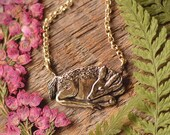 Sleeping Fawn Necklace - Bronze Fawn Deer Pendant - 14 kt. Gold-fill Chain - Mori Forest Girl Necklace - by Woodland Belle