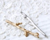 Custom Set of 2 Twig Hair Pins - Branch Bobby Pins - Mix & Match You Choose Silver, Gold, Bronze, or Rose Gold - By Woodland Belle