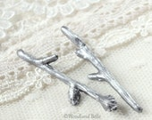 Silver Branch Hair Pins - Twig Hair Pins - Branch Bobby Pins - Twig Hair Clips - Bridal Wedding Hair Pins - Gift Under 30 - Antique Pewter
