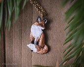 Enameled Sitting Fox Necklace - Bronze Fox Pendant - 14 kt. Gold-fill Chain - Mori Forest Girl Necklace - by Woodland Belle