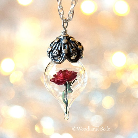 Red Rose Glass Flower Pendant Necklace Beauty The Beast Etsy