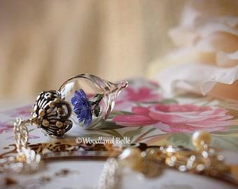 Lavender Purple Rose Flower Glass Terrarium Necklace by Woodland Belle
