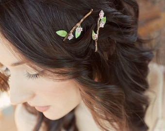 Twig Hair Bobby Pins with Cherry Sakura Blossom Flowers