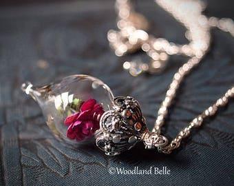 Fuschia Pink Rose Glass Vial Flower Terrarium Necklace by Woodland Belle