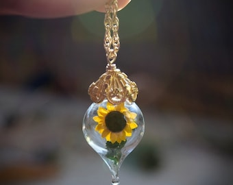 Sunflower Necklace - Gold Glass Yellow Flower Pendant - Personalized Jewelry Gift - Gold, Sterling Silver, or Rose Gold - by Woodland Belle