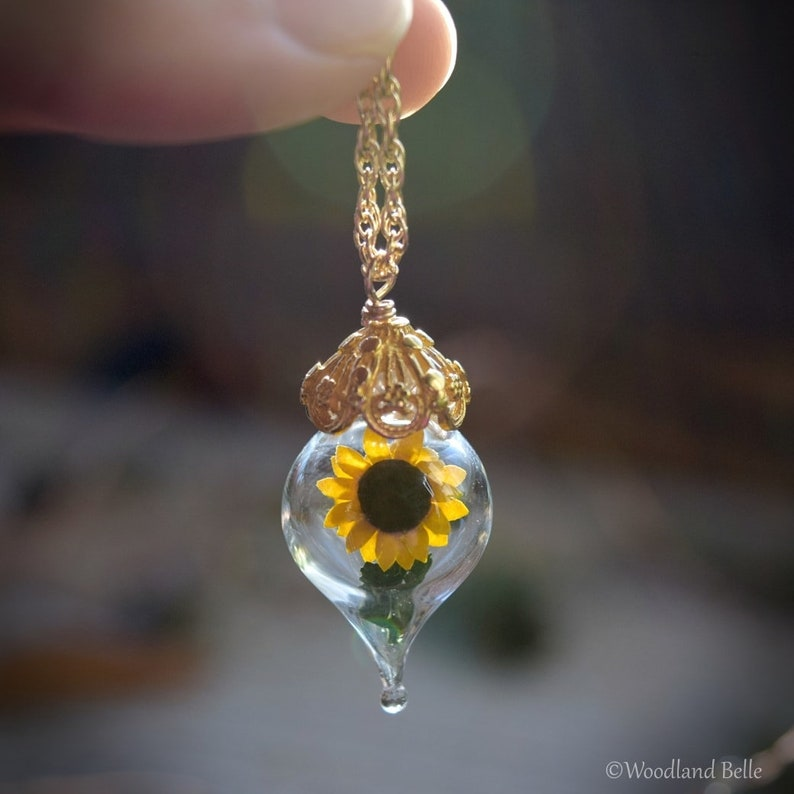 4c466ab216308 Sunflower Necklace - Glass Flower Terrarium - Wife, Mother Gift - Choose  Silver, Gold or Rose Gold - Personalized Option - by Woodland Belle
