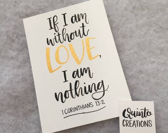 1 Corinthians 13:2 - Black and Gold on White, Watercolor,  5x7 inches, hand lettered, hand writing, wall decor, home decor, bible verse,