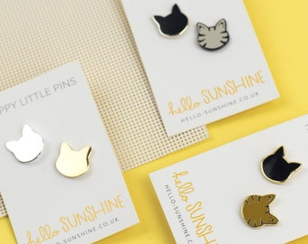 Little Kitty pin set - pair of cat pin badges - black cat - tabby cat - grey tabby - silver cat - perfect cat lovers gift - crazy cat person