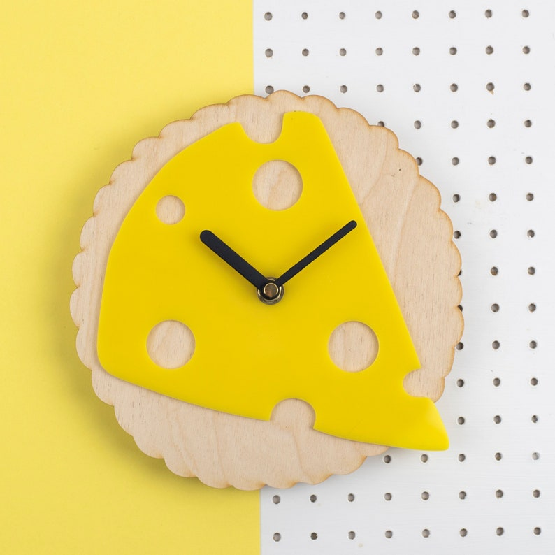 Cheese and Biscuit clock  laser cut wooden and acrylic wall image 0