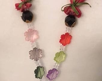 Silk necklace spectacle holder