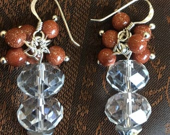 Crystal faceted  and goldstone beads