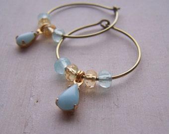 niobium gold hoop earrings vintage sky blue teardrops with genuine citrine and aquamarine gemstones - limited edition - hand made by variya