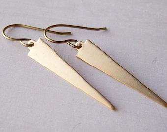 gold niobium geometric earrings brass daggers long narrow triangles - hand crafted by Variya