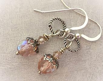Pink Glass Beaded Earrings. Sterling Silver Earring Wires