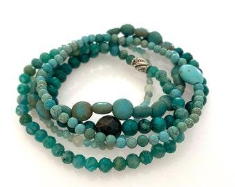 Stretch Stacking Bracelet Set. Multi-Gemstone.