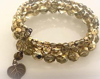 Blingy Metallic Gold Wrap Bracelet. Memory Wire Statement Bracelet