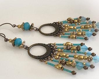 Turquoise Glass Beaded Calypso Earrings. Long Bohemian Earrings.