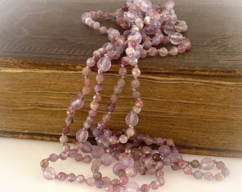 Rope Length Tourmaline and Purple Jade Beaded Necklace. 58 inches Long