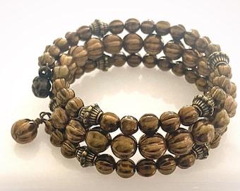 Triple Wrap Bronze Glass Beaded Bracelet. Memory Wire Boho Bracelet