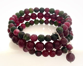 Gemstone Bracelet. Pomegranate and Burgundy Agate Gemstones. Multi-Wrap Memory Wire Bracelet