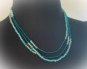 Long Gemstone Layering Necklace.  Amazonite, Turquoise Magnesite & Glass Seed Beads. 60 Inches Long